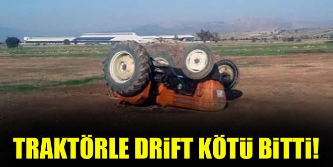Traktörle drift kötü bitti!