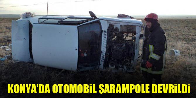 Konya'da otomobil şarampole devrildi