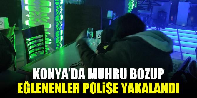 Konya'da mührü bozup eğlenenler polise yakalandı