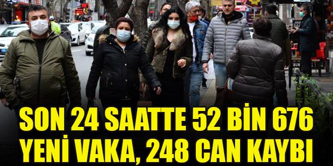 Son 24 saatte 52 bin 676 yeni vaka, 248 can kaybı