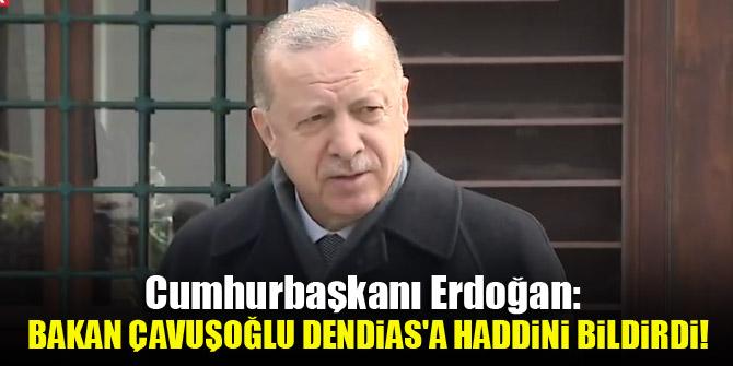 Cumhurbaşkanı Erdoğan: Bakan Çavuşoğlu Dendias'a haddini bildirdi!
