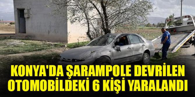 Konya'da şarampole devrilen otomobildeki 6 kişi yaralandı