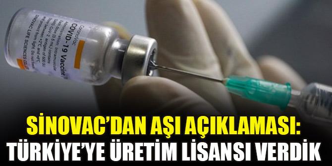 Sinovac'dan aşı açıklaması: Türkiye'ye üretim lisansı verdik