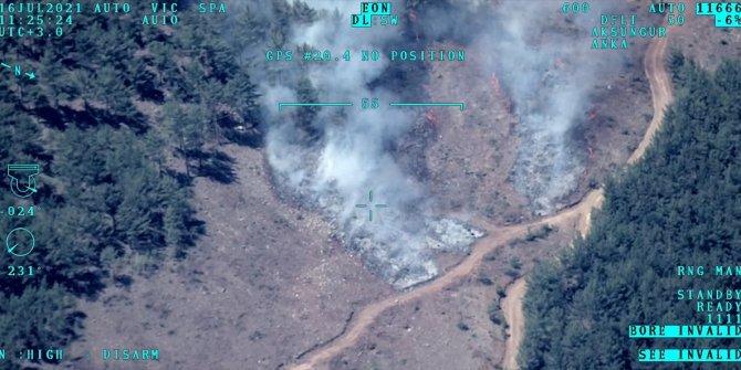 Mersin'de devam eden orman yangını İHA ile görüntülendi