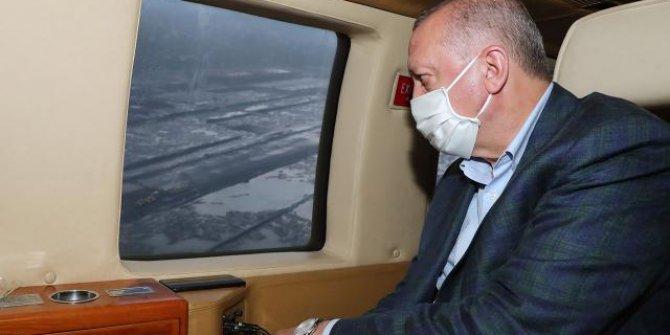 Cumhurbaşkanı Erdoğan, Rize-Artvin Havalimanı'nı havadan inceledi