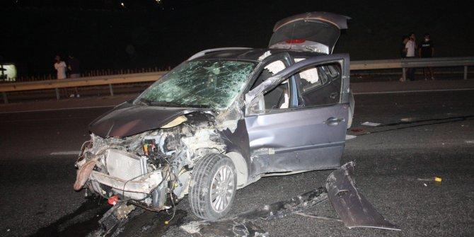 Takla atan otomobilde 70 metre sürüklendi, kazadan hafif yaralı kurtuldu