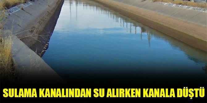 Sulama kanalından su alırken kanala düştü