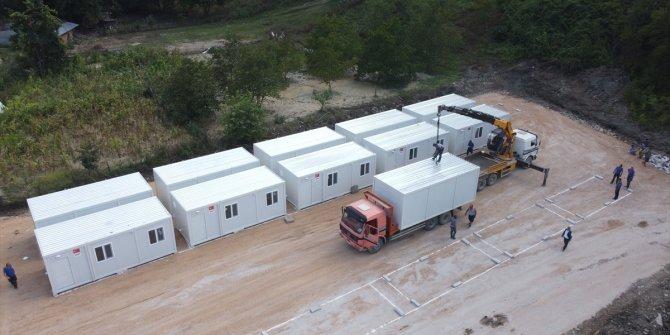Selde zarar gören Babaçay köyünde vatandaşların barınma ihtiyacı AFAD yaşam konteyneriyle karşılanacak