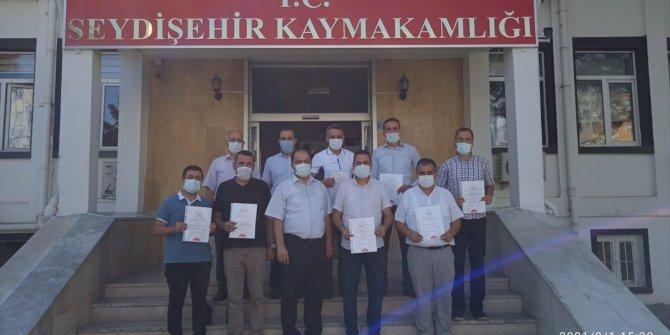 """Seydişehir'de okul müdürlerine """"Okulum temiz"""" belgeleri teslim edildi"""