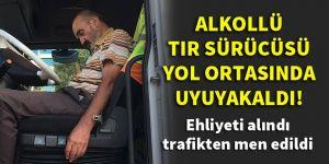 Konya'da alkollü tır sürücüsü yol ortasında uyuyakaldı