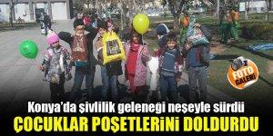 Konya'da şivlilik geleneği neşeyle sürdü, çocuklar poşetlerini doldurdu