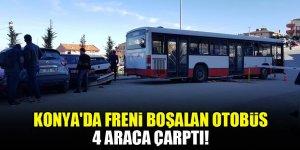 Konya'da freni boşalan otobüs 4 araca çarptı!