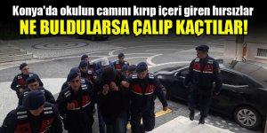 Konya'da okulun camını kırıp içeri giren hırsızlar ne buldularsa çalıp kaçtılar!