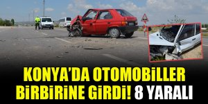 Konya'da otomobiller birbirine girdi! 8 yaralı
