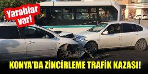 Konya'da zincirleme trafik kazası: Yaralılar var