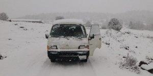 Konya'nın yaylaları kar yağışı ile beyaza büründü