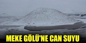 Kar yağışları Meke Gölü'ne can suyu oldu