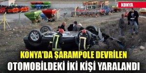 Konya'da şarampole devrilen otomobildeki iki kişi yaralandı
