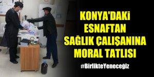 Konya'daki esnaftan sağlık çalışanına moral tatlısı