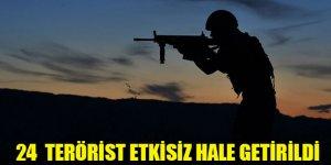 24 PKK/YPG'li terörist etkisiz hale getirildi