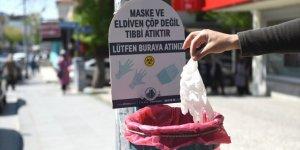 Altındağ'da elektrik direklerine tıbbi atıklar için çöp sepetleri yerleştirildi