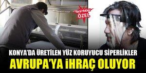 Konya'da üretilen yüz koruyucu siperlikler Avrupa'ya ihraç oluyor