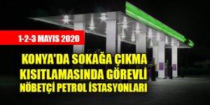Konya'da sokağa çıkma kısıtlamasında görevli nöbetçi petrol istasyonları