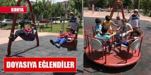 Konya'da çocuklar yeniden sıcak havanın keyfini çıkardı