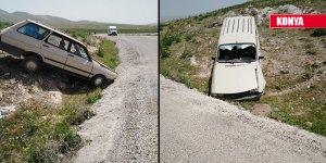 Konya'da otomobil yoldan çıktı! Sürücü yaralandı