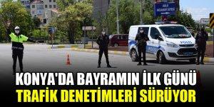 Konya'da bayramın ilk günü trafik denetimleri sürüyor