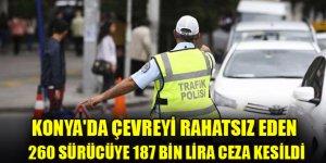 Çevreyi rahatsız eden 260 sürücüye 187 bin lira ceza kesildi!