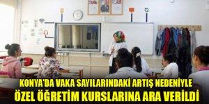 Konya'da vaka sayılarındaki artış nedeniyle özel öğretim kurslarına ara verildi