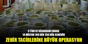 Diyarbakır'da 5 ton 81 kilogram esrar, 14 milyon 169 bin 150 kök kenevir ele geçirildi