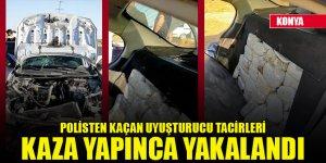 Konya'da polisten kaçan uyuşturucu tacirleri kaza yapınca yakalandı