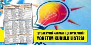 İşte AK Parti Karatay İlçe Başkanlığı Yönetim Kurulu listesi