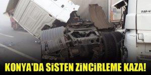 Konya'da sisten zincirleme kaza!