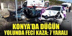Konya'da gelin arabasının da karıştığı zincirleme trafik kazası: 7 yaralı