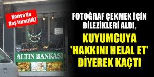 Konya'da flaş hırsızlık! Fotoğraf çekmek için bilezikleri aldı, kuyumcuya 'hakkını helal et' diyerek kaçtı
