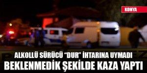"""Konya'da polisin """"dur"""" ihtarına uymayan sürücünün kullandığı araç tarlaya devrildi"""