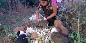 Çuvalda ölüme terk edilen köpek yavrularını çocuklar kurtardı