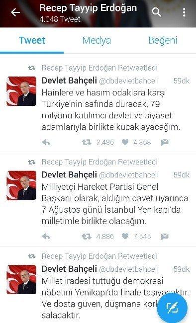 Cumhurbaşkanı Erdoğan, Devlet Bahçeli'yi retweetledi