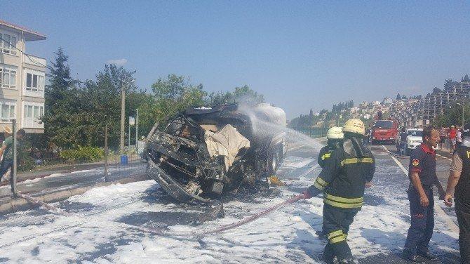 Tanker sürücüsü yanarak can verdi