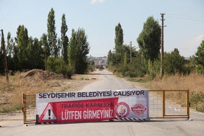 Seydişehir'de soğuk asfalt çalışması