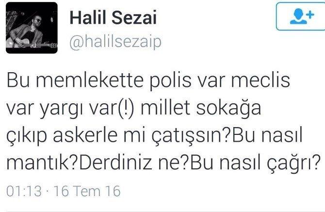 Halil Sezai paylaşıp sildiği darbe tweet'inin ardından Bursa'da da siyasi mesaj verdi