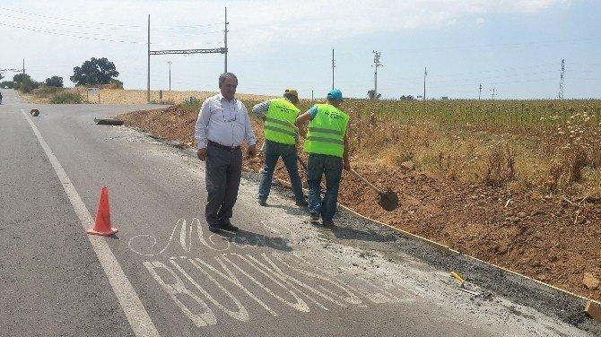 NATO Yolunda betonlama çalışması başladı