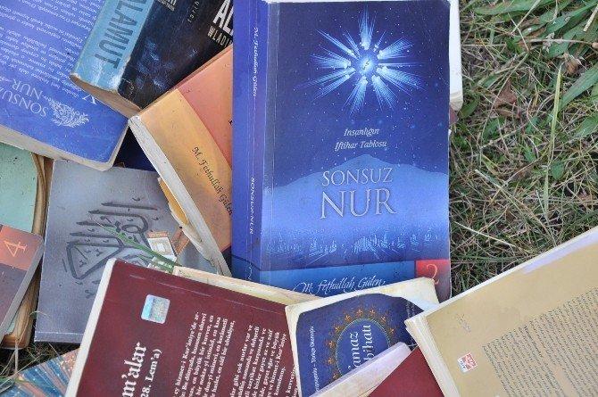 Dere kenarında FETÖ elebaşına ait çok sayıda kitap bulundu