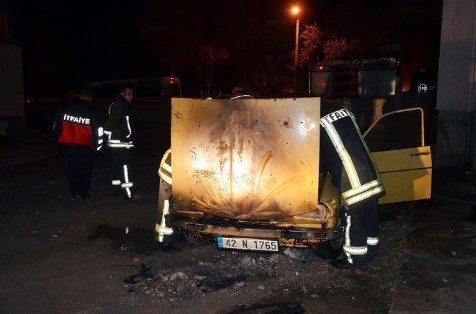 Karaman'da park halindeki otomobil kundaklandı