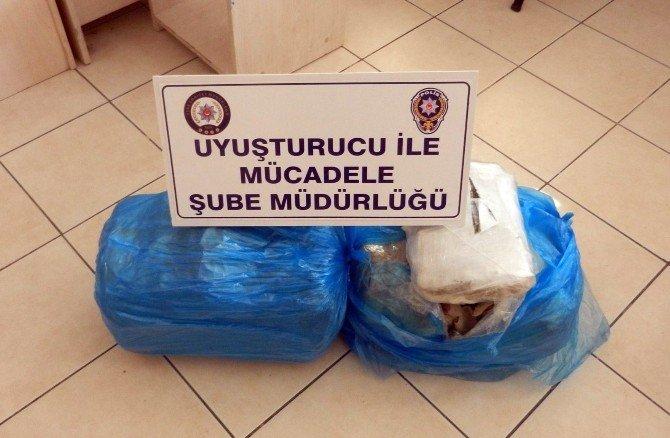 Uşak'ta yolcu otobüslerinde uyuşturucu yakalandı