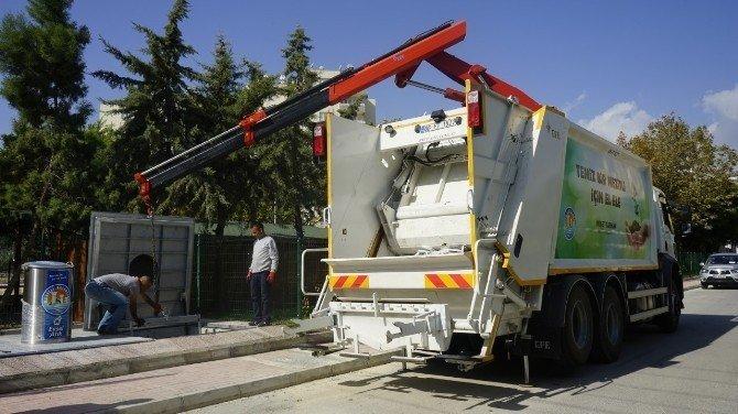 Mezitli'de çöpler yerin altına iniyor