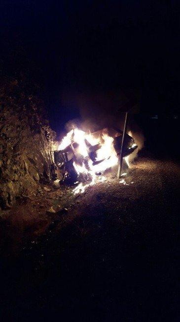 LPG'li oto cayır cayır yandı